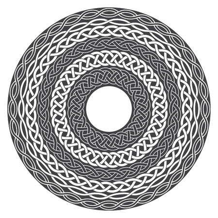 celtic: Mandala in esoteric style. Set of isolated rings of celtic braids. Decorative elements for your design.
