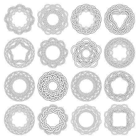 Conjunto de anillos de nudos celtas. 16 elementos decorativos circulares con rayas trenzando para su diseño.