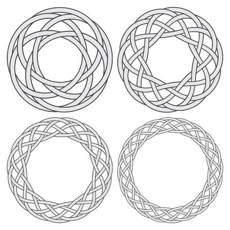 Conjunto de anillos de nudos celtas. 4 elementos decorativos circulares con rayas trenzando para su diseño.