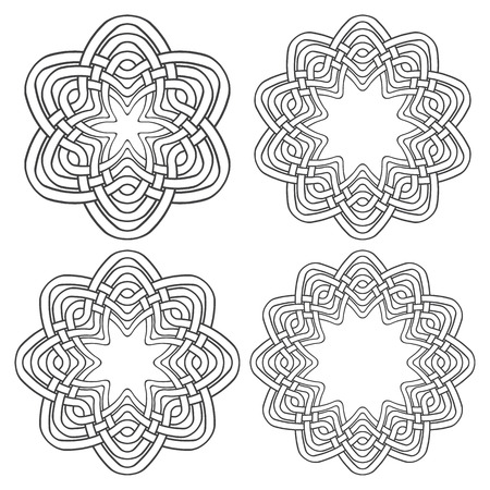 knotting: Set of magic knotting rings. 4 circular decorative elements with stripes braiding for your design.