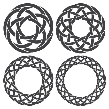 knotting: Set of celtic knotting rings. 4 circular decorative elements with stripes braiding for your design. Illustration