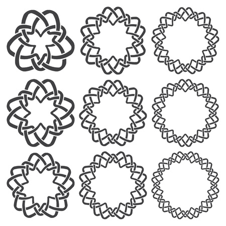 knotting: Set of magic knotting rings. Nine circular decorative elements with stripes braiding for your design. Illustration