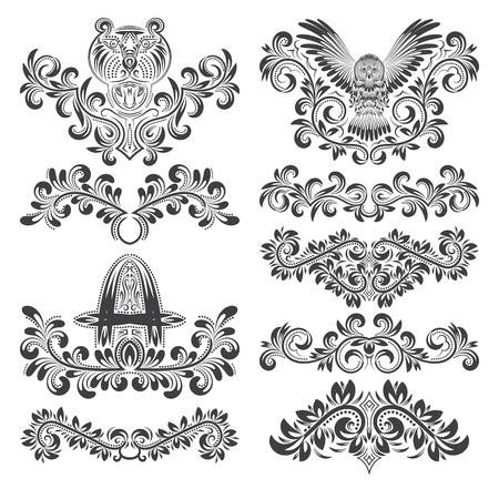 cougars: Design ornamental elements set. Floral tattoo in vintage baroque style. Vintage page ornate decorations.