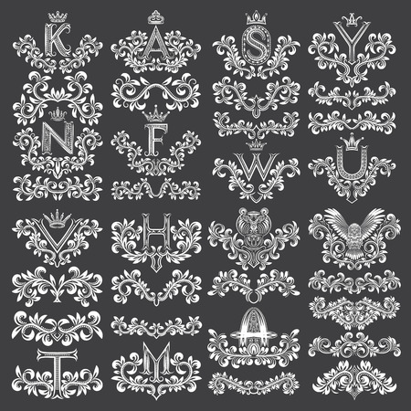cougars: Big set of ornamental elements for design. White floral decorations on black. Isolated tattoo patterns in vintage style. Vintage page ornate decorations.