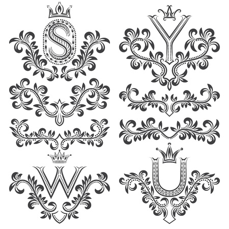 y ornament: Design ornamental elements and monograms set. Floral tattoo in vintage baroque style. Vintage page ornate decorations.