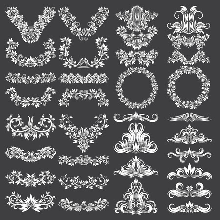 Big set of ornamental elements for design. White floral decorations on black. Isolated tattoo patterns in vintage style. Illustration