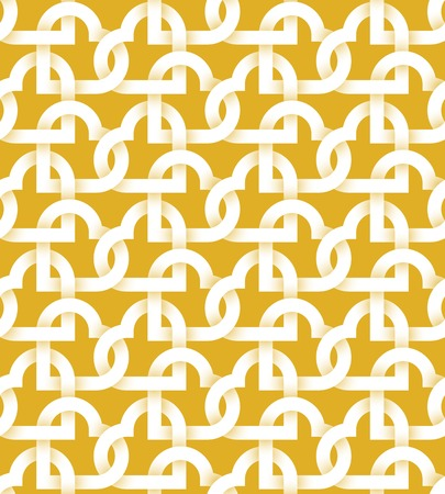 intertwined: Abstract repeatable pattern background of white twisted strips on gold. Swatch of intertwined hearts for Valentines day gift wrapping design.