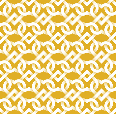 swatch: Abstract repeatable pattern background of white twisted strips on gold. Swatch of intertwined hearts for Valentines day gift wrapping design.