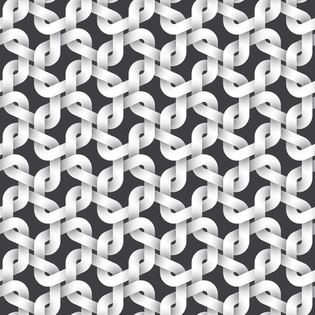 intertwined: Abstract repeatable pattern background of white twisted strips. Swatch of intertwined links.