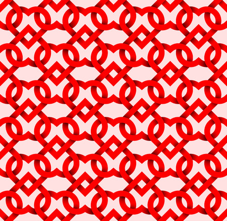 intertwined: Abstract repeatable pattern background of red twisted strips on pink. Swatch of intertwined hearts.