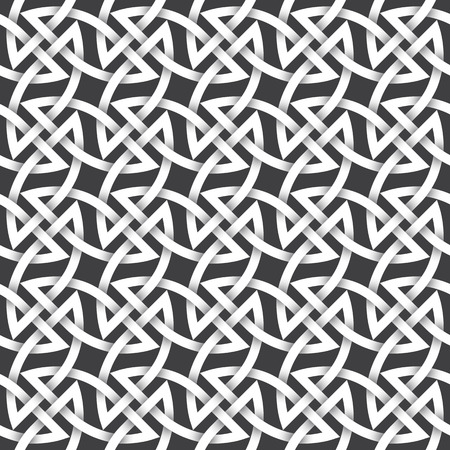 intertwined: Abstract repeating background of white twisted strips. Swatch of intertwined braces and lines.
