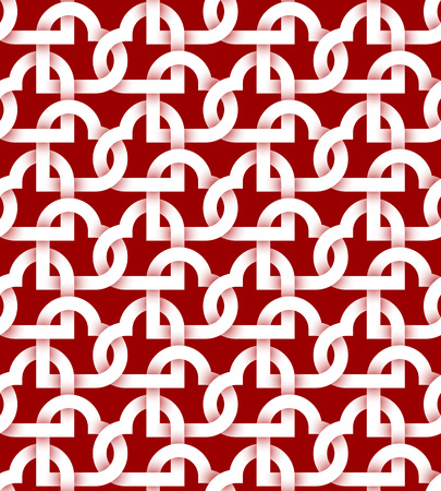 intertwined: Abstract repeatable pattern background of white twisted strips on red. Swatch of intertwined hearts.