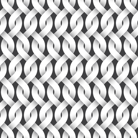 intertwined: Abstract repeatable pattern background of white twisted strips. Swatch of intertwined wavy lines. Seamless pattern in vintage style. Illustration