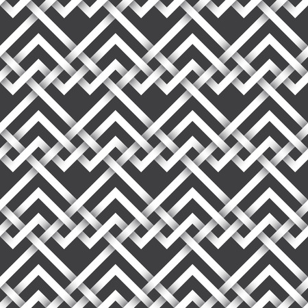 intertwined: Abstract repeatable pattern background of white twisted strips. Swatch of intertwined zigzag and straight lines.Seamless pattern with volume effect.