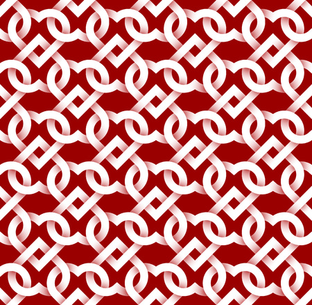 linkage: Abstract repeatable pattern background of white twisted strips on red. Swatch of intertwined hearts.