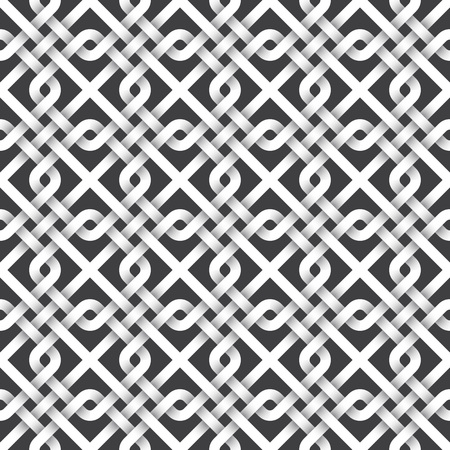 twisted: Abstract repeating background of white twisted strips. Swatch of intertwined squares and lines.