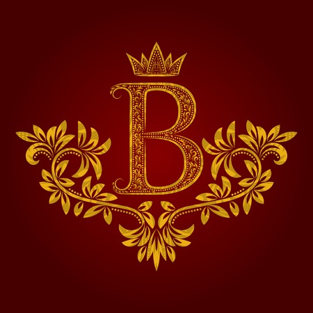 Patterned golden letter B monogram in vintage style. Heraldic coat of arms. Baroque template.
