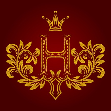 Patterned golden letter H monogram in vintage style. Heraldic coat of arms. Baroque template.
