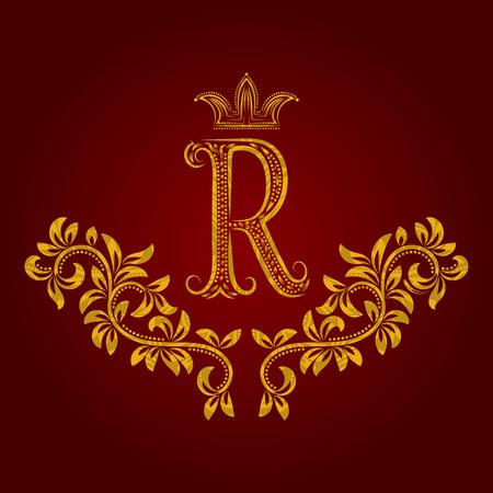 Gemustertes goldenes Monogramm des Buchstaben R in der Weinleseart. Heraldisches Wappen. Barocke Vorlage.