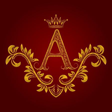 パターン黄金文字ビンテージ スタイルのモノグラム。紋章紋章付き外衣。バロック様式のテンプレートです。