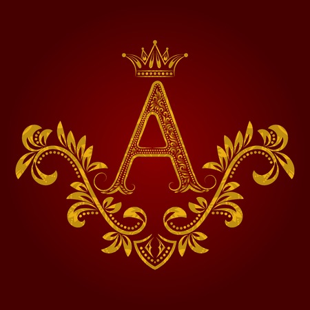 Patterned golden letter A monogram in vintage style. Heraldic coat of arms. Baroque  template.