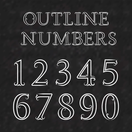 numbers background: Vintage outline numbers with flourishes. Numbers in baroque style font. White outline numbers on a black textured background.