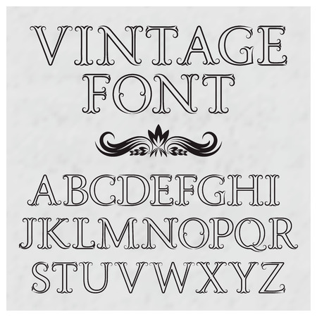 vintage letters with flourishes vintage font in baroque style