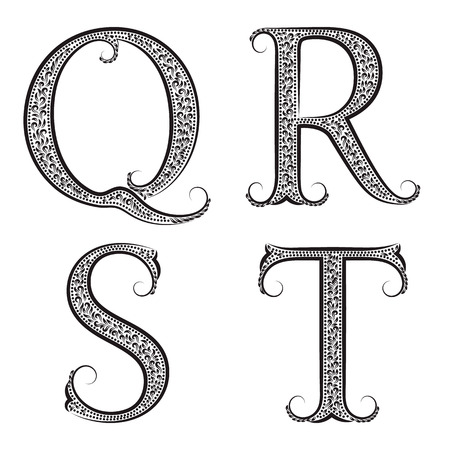 antiquated: Q, R, S, T vintage patterned letters. Font in floral baroque style. Illustration