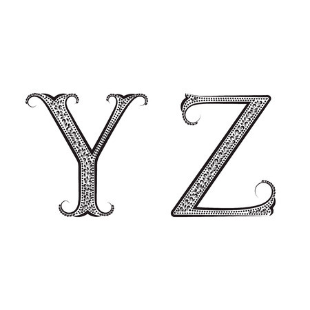 antiquated: Y, Z vintage patterned letters. Font in floral baroque style.