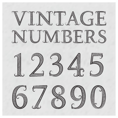 numbers background: Vintage patterned numbers. Numbers in floral baroque style font. Vintage numbers on a gray textured background.