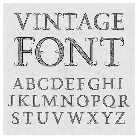 Vintage patroon letters. Vintage font in bloemen barokke stijl. Vintage Latijnse alfabet. Vintage zwarte hoofdletters op een grijze geweven achtergrond. Stock Illustratie