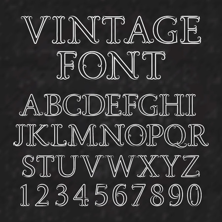 antiquated: Vintage letters and numbers with flourishes. Font in baroque style. Vintage latin alphabet with numbers. White outline capital letters and numbers on a black textured background.