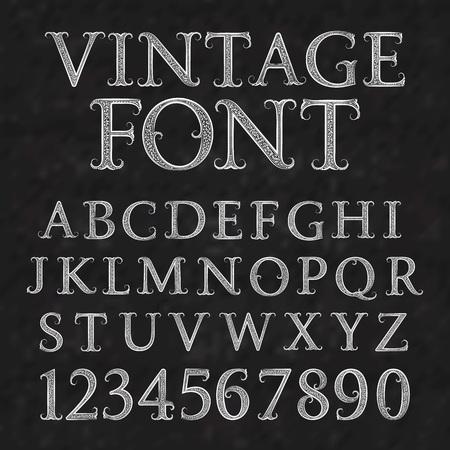 ヴィンテージ柄の文字と数字。花のバロック様式のフォントです。番号を持つヴィンテージのラテン系のアルファベット。ビンテージの白い大文字  イラスト・ベクター素材