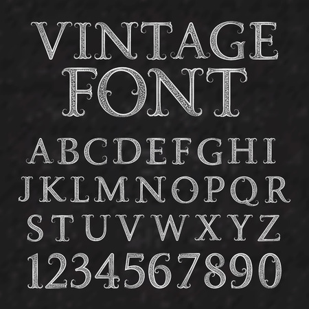 Vintage patterned letters and numbers. Font in floral baroque style. Vintage latin alphabet with numbers. Vintage white capital letters and numbers on a black textured background.