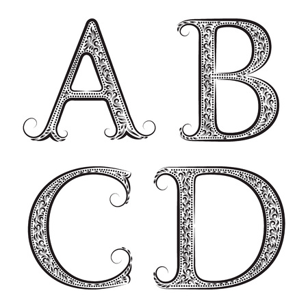A, B, C, D vintage patterned letters. Font in floral baroque style.