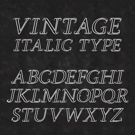 antiquated: Vintage letters with flourishes. Vintage italic type font in baroque style. Vintage latin alphabet. White outline italic type capital letters on a black textured background.