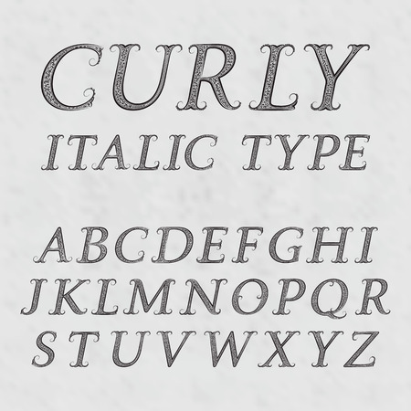 italic: Vintage patterned letters. Curly italic type font in floral baroque style. Vintage latin alphabet. Black italic type capital letters on a gray textured background. Illustration