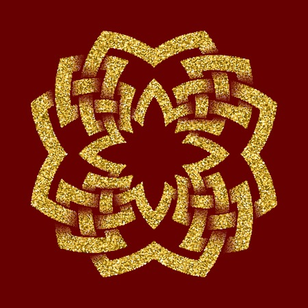 Golden glittering template in Celtic knots style on dark red background. Symbol in octagon cruciform maze form. Gold ornament for jewelry design.