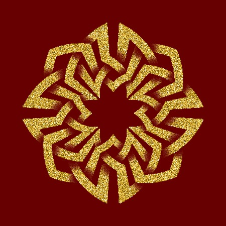 Golden glittering template in Celtic knots style on dark red background. Symbol in octagon maze form. Gold ornament for jewelry design. Illustration