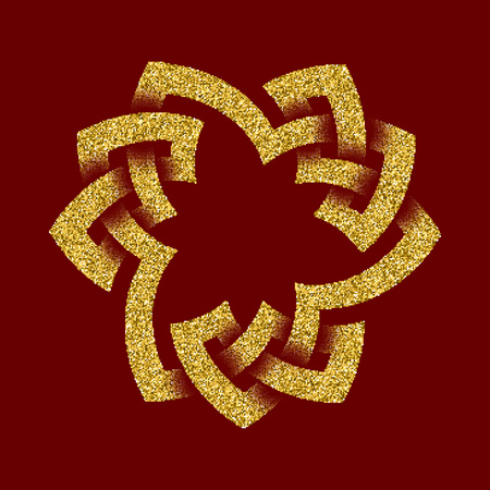 Golden glittering  template in Celtic knots style on dark red background. Symbol in trefoil form. Gold ornament for jewelry design.