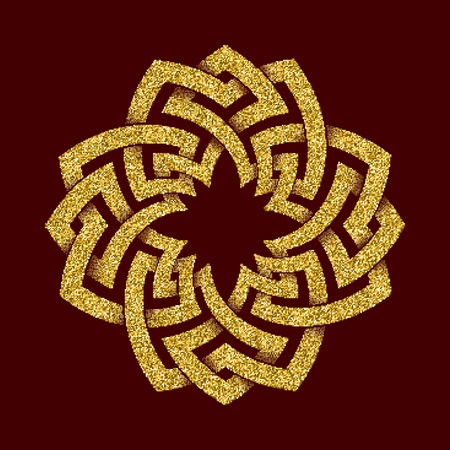 Golden glittering template in Celtic knots style on dark red background. Cruciform symbol. Gold ornament for jewelry design.