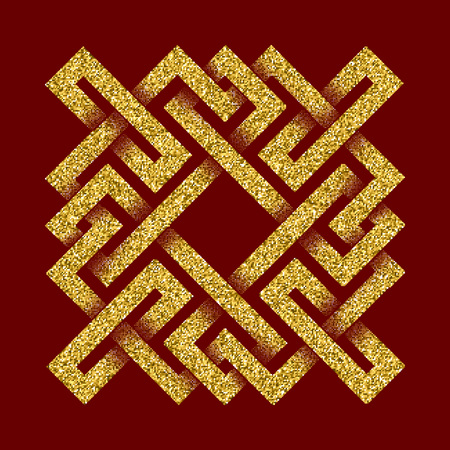 Golden glittering template in Celtic knots style on dark red background. Symbol in square maze form. Gold ornament for jewelry design.