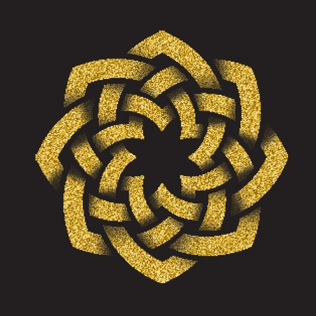 Golden glittering template in Celtic knots style on black background. Octagon symbol. Gold ornament for jewelry design.