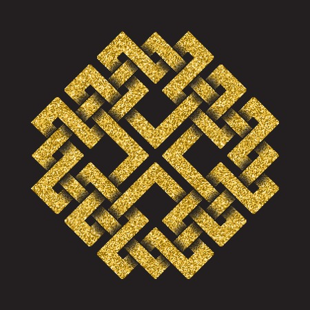 Golden glittering template in Celtic knots style on black background. Symbol in square maze form. Gold ornament for jewelry design.