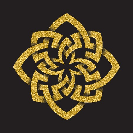 octogonal: Golden glittering  template in Celtic knots style on black background. Octagonal symbol. Gold ornament for jewelry design.