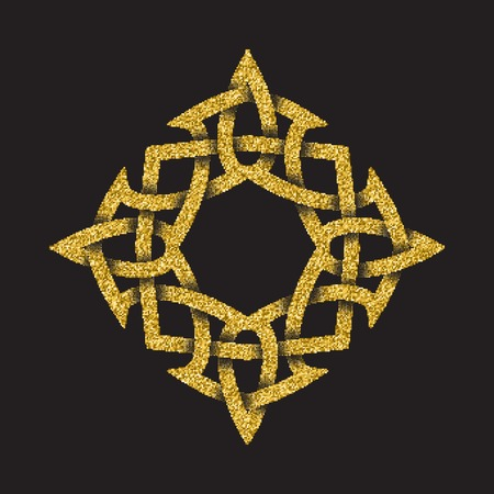 Golden glittering template in Celtic knots style on black background. Symbol in rhombus maze form. Gold ornament for jewelry design.