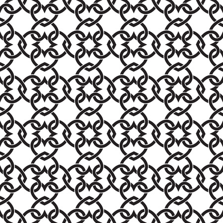 gaelic: Chain armor of the links in form of hearts. Celtic seamless pattern with swatch for filling. Fashion geometric background for web and tattoo design.