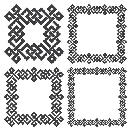 wickerwork: Set of magic knotting frames. 4 square decorative elements with stripes braiding for your design. Illustration