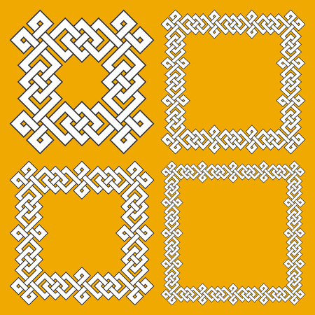Set of magic knotting frames. 4 square decorative elements with stripes braiding for your design. Illustration