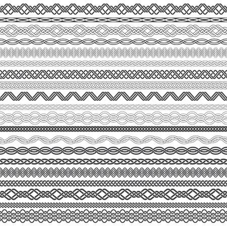 Set Vintage Grenzen für Design. Zwanzig Randelemente für Rahmen in Verknoten Stil.